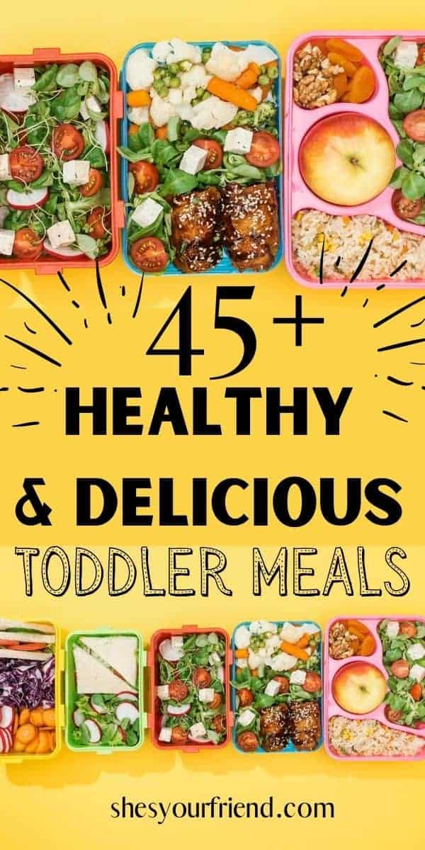 a collage of fun kids lunch boxes filled with food and text overlay that reads 45 plus healthy and delicious toddler meals