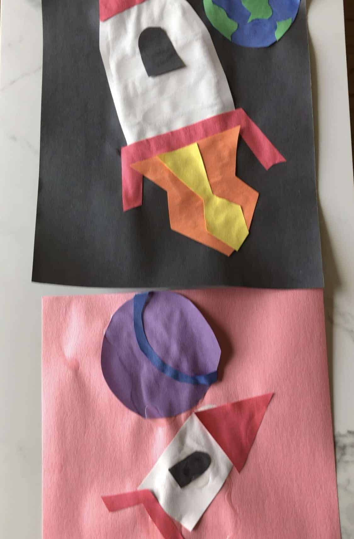 construction paper space ships in outer space