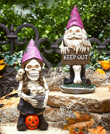 creepy skeleton garden gnomes