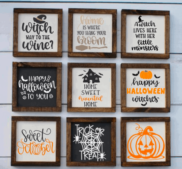 9 halloween signs with different quotes for halloween