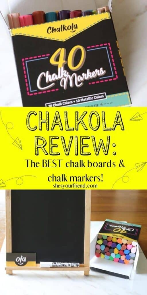 collage of liquid chalk markers and a chalkboard standing next to markers with text overlay that reads chalkola review the best chalk boards and chalk markers