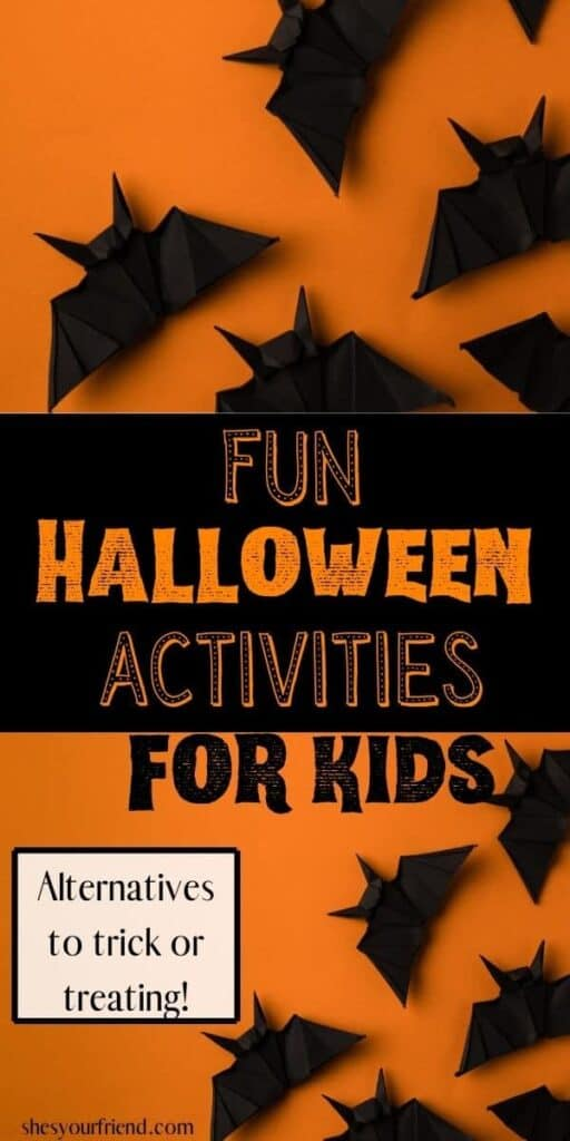 collage of paper bats on an orange background with text overlay that reads fun halloween activities for kids