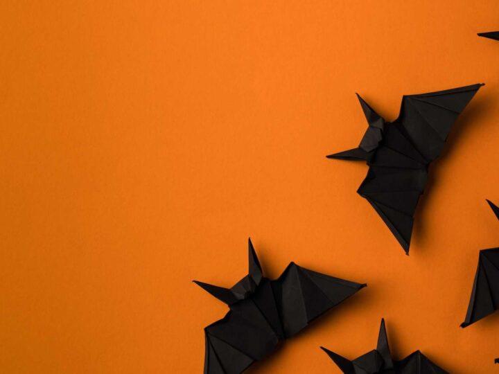 black paper bats on an orange background