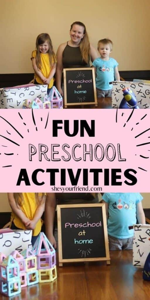 a mom with her preschoolers and a chalkboard and text overlay that reads fun preschool activities