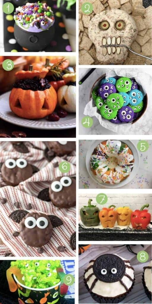 collage of nine halloween snacks for kids