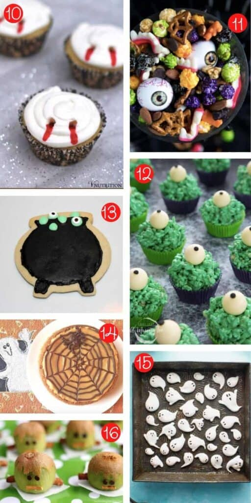 collage of seven different fun halloween snacks for kids