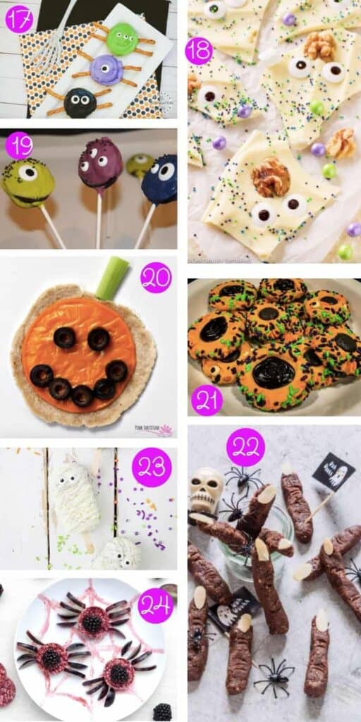 collage of eight halloween foods for kids