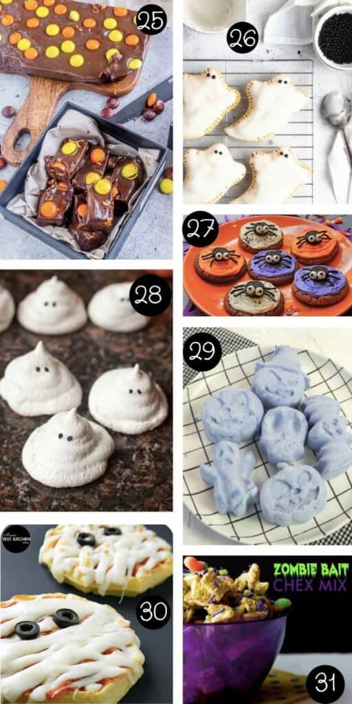 collage of seven different halloween snacks for kids