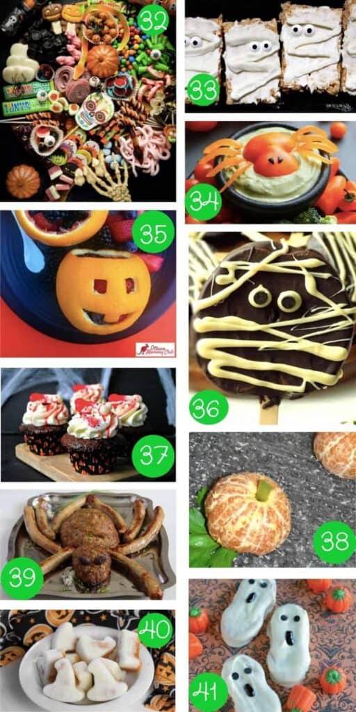 collage of ten different halloween foods