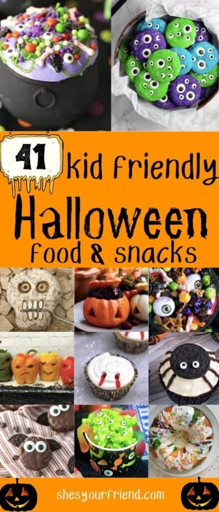 collage of different kid friendly Halloween snacks and desserts