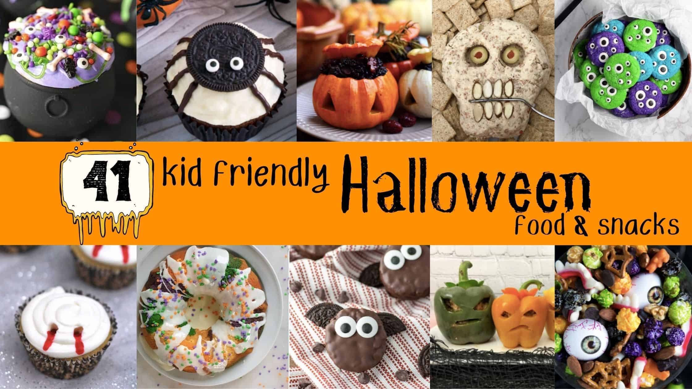 collage of ten different halloween treats snacks and other party food