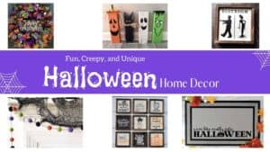 a collage of halloween signs, doormats, and other home decor