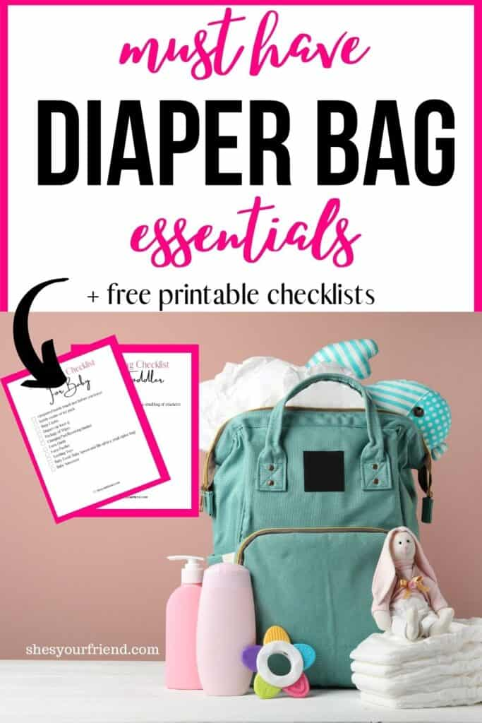 a diaper bag with printable checklists shown