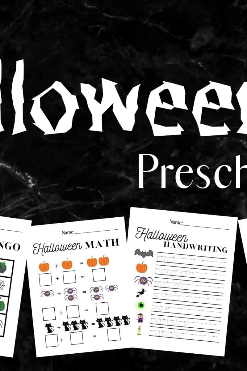 halloween printable worksheets shown on a black marble counter top with text over lay that reads free halloween preschool bundle