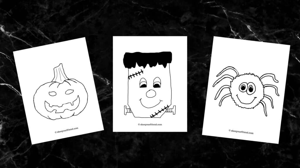 three halloween coloring pages of a pumpkin frankenstein and a spider