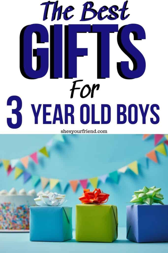 three small gifts wrapped on a table by a birthday cake