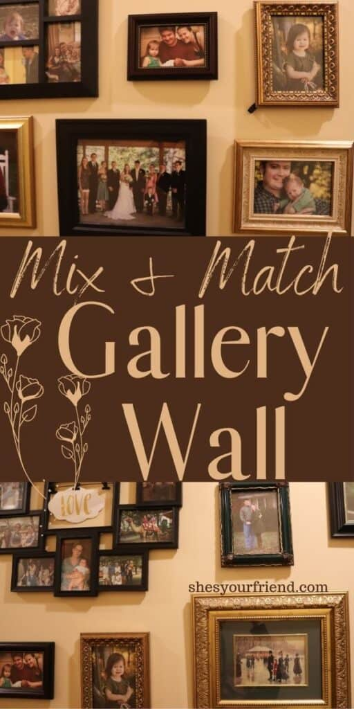 a collage wall of different mix and match picture frames with text overlay that reads mix and match gallery wall