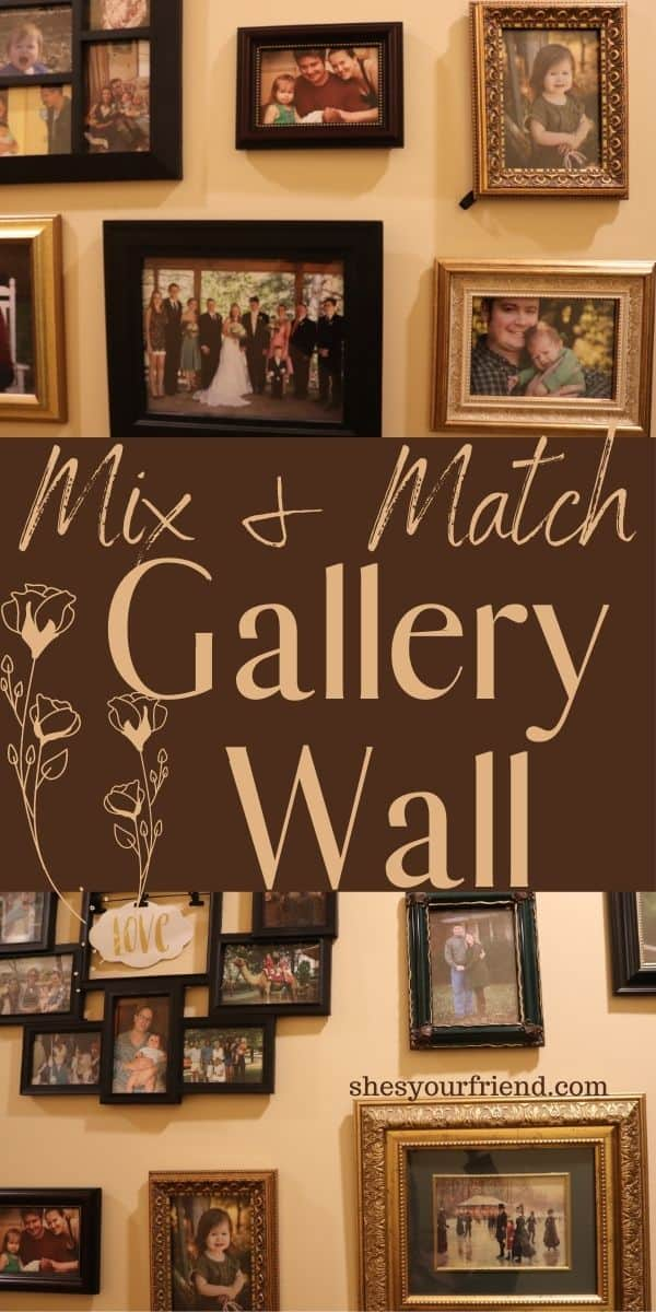 mix and match picture frames on a hallway wall