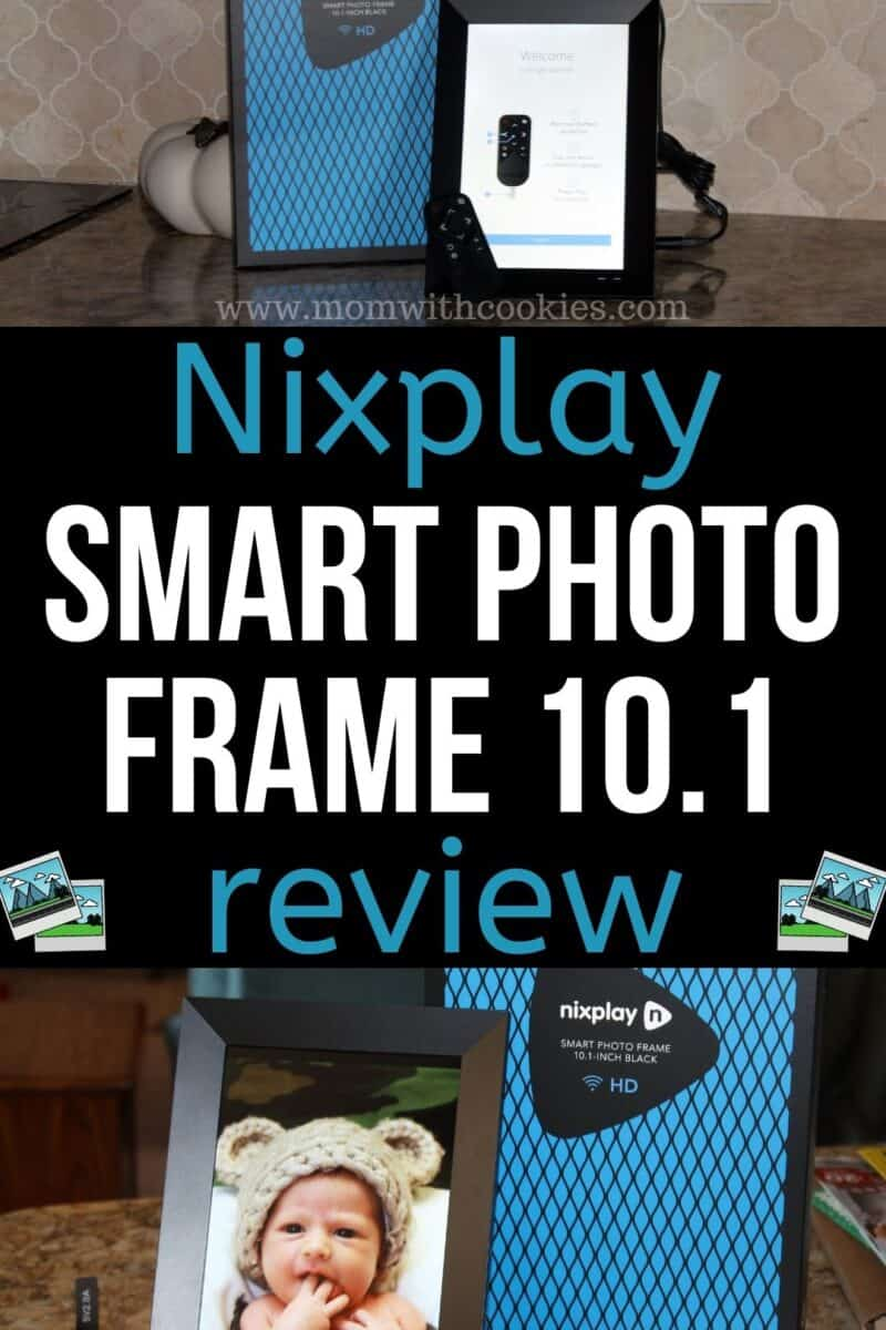 collage of nixplay smart photo frame showing how to set it up and a baby picture displayed