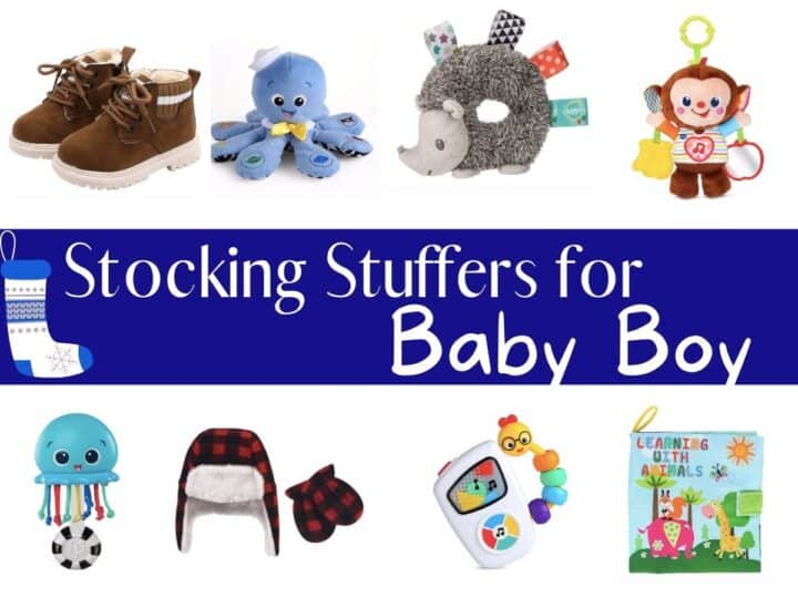 a collage of different baby items with text overlay that reads stocking stuffers for baby boy