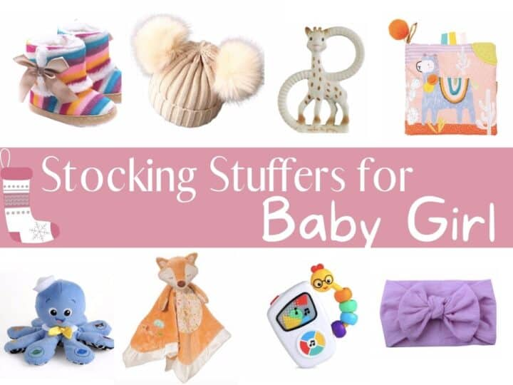 a collage of baby girl items with text overlay that reads stocking stuffers for baby girl