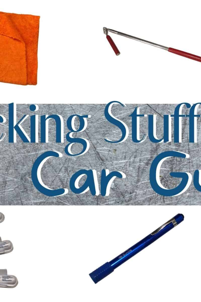 a collage showing different items that would be good for stocking stuffers for car guys