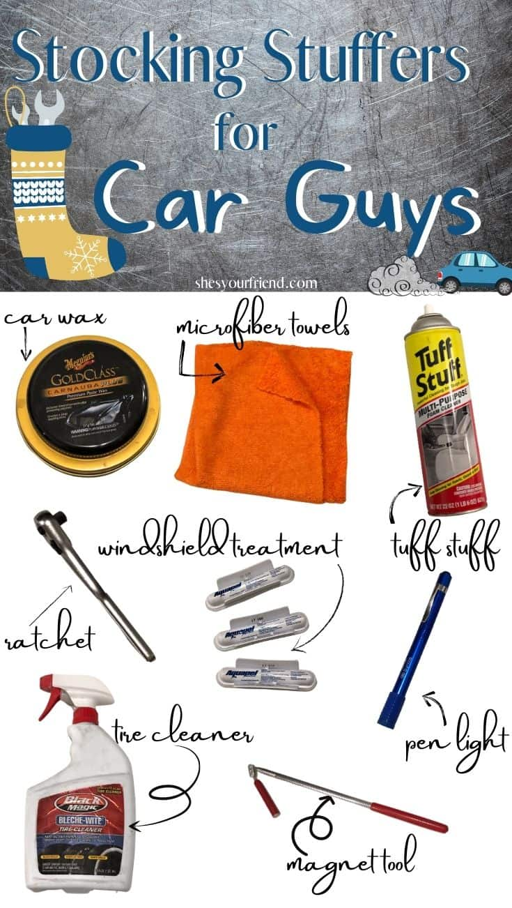 collage of stocking stuffer ideas for car guys including tools car wax and cleaners