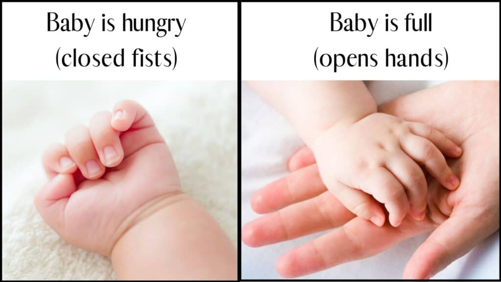 baby hand with closed fists which could mean baby is hungry and a baby with an open hand which can mean baby is full