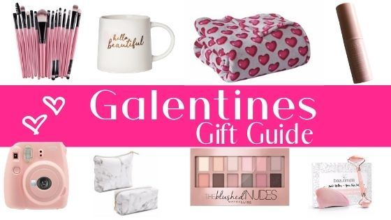 collage of different gift ideas showing a cup, a camera, makeup, makeup brushes, a blanket and bag.