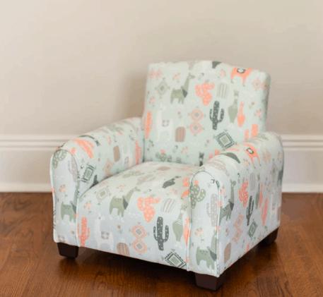 llama cactus bohemian print upholstered kids chair