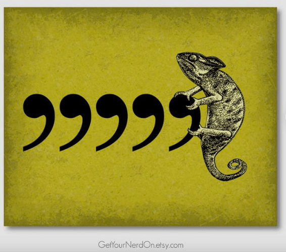 a wall sign with 5 commas and a chameleon on it