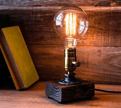 steampunk industrial Edison style lamp