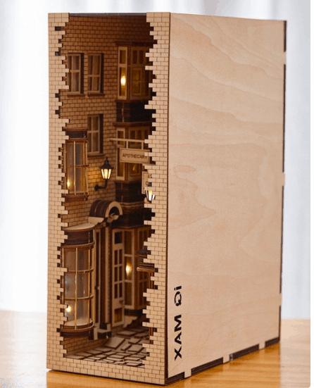 a decorative false book decor that looks like a London street