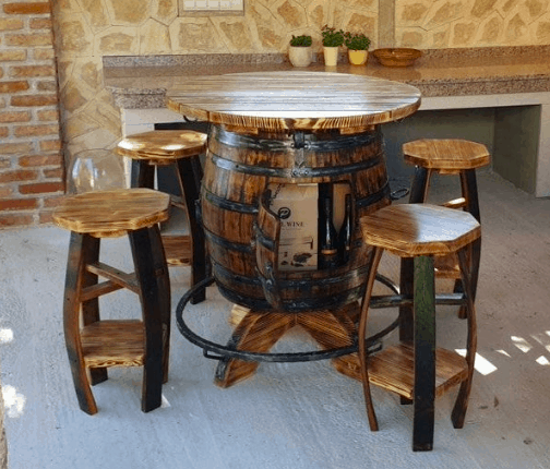 table and chairs made from old oak wine barrels