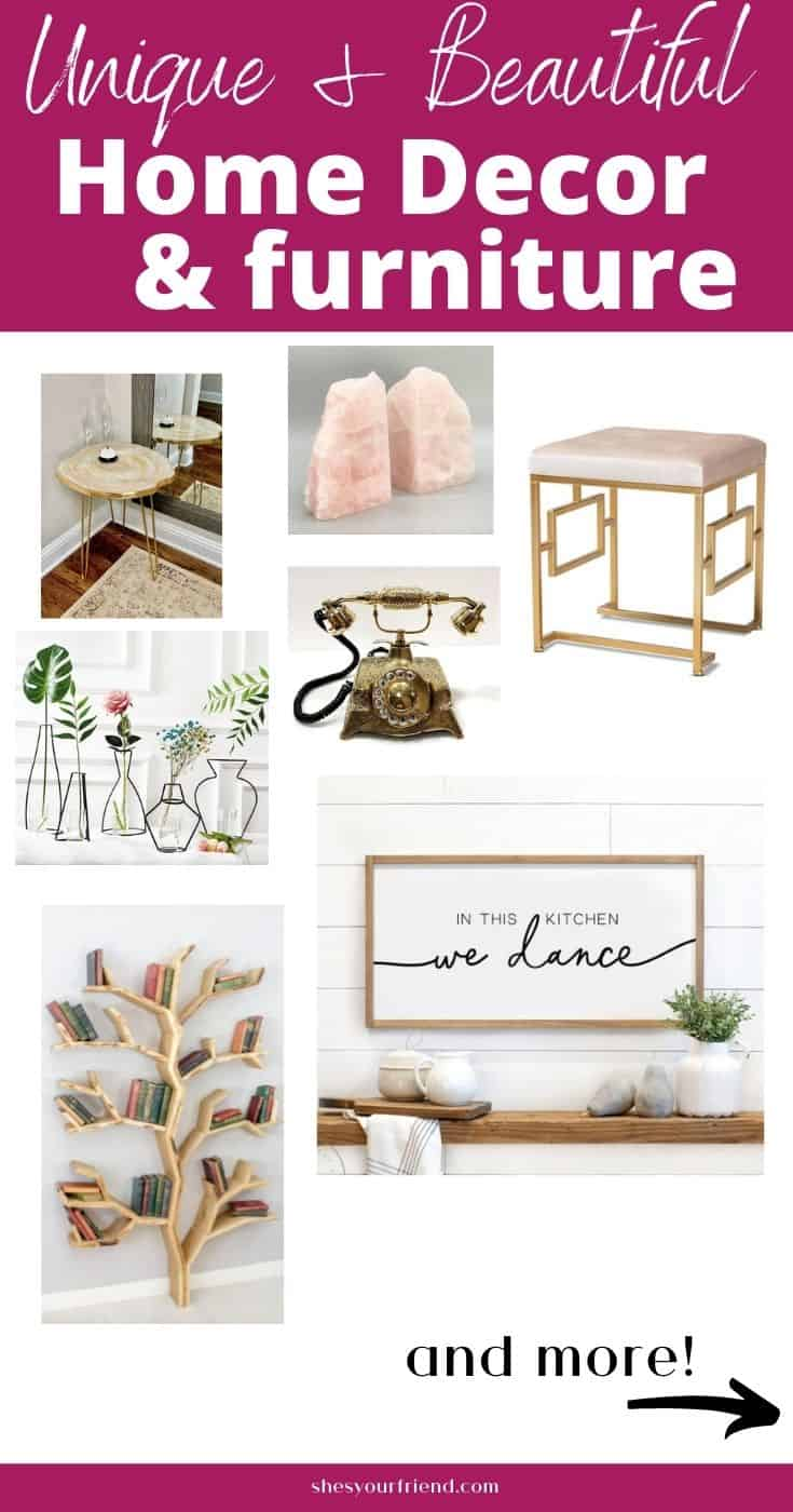 a collage of unique furniture and home decor items with text overlay that reads unique and beautiful home decor and furniture
