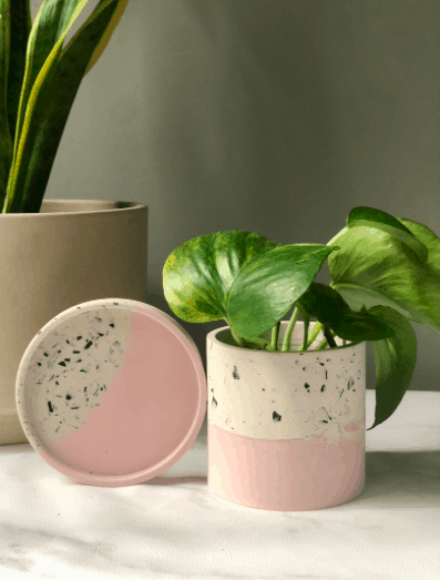 2 tone pink and terrazzo planter with drainage hole