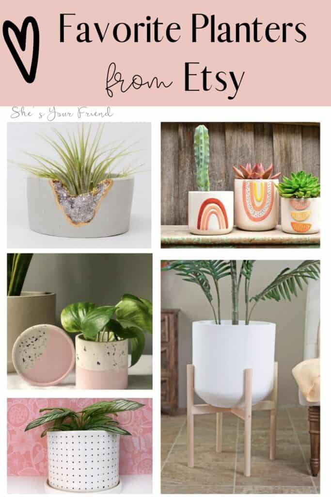 5 different garden planters with text overlay that reads favorite planters from etsy
