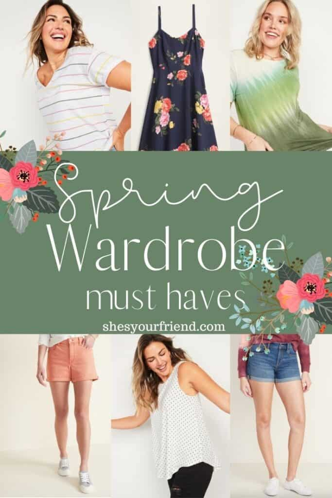 collage of spring shirts dresses and shorts with text overlay that reads spring wardrobe must haves