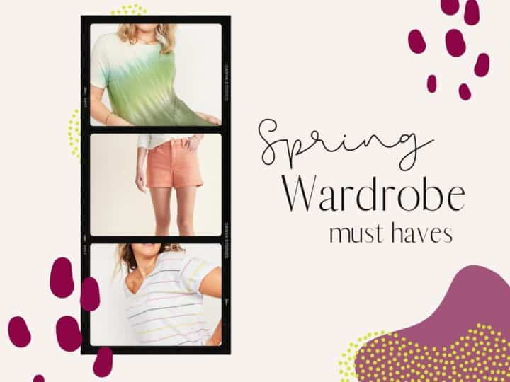 a collage of spring fashion for women with text that says spring wardrobe must haves