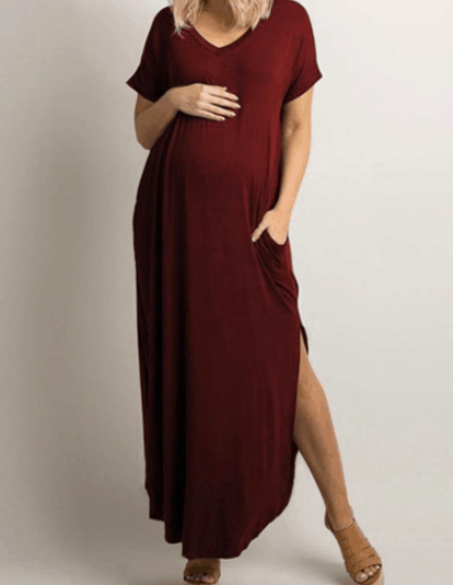 a pregnant woman wearing a casual maternity dress
