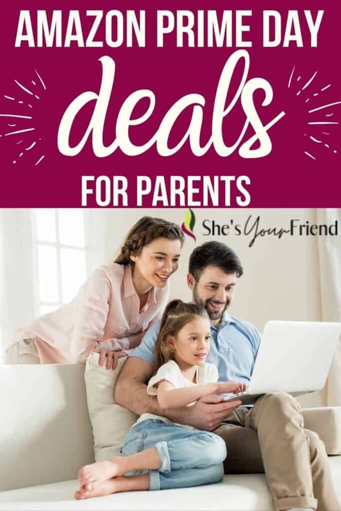 parents with a kid looking at computer with text overlay that reads amazon prime day deals for parents